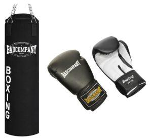 Schwerer Kampfsportsack mit Handschuhen von Bad Company